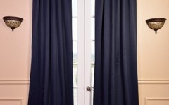 Navy drapes look great in the living room.