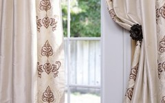 Patterned drapes like this one work perfectly at walking this line.