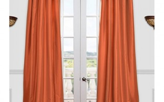 These orange curtains are right on trend for March Madness.