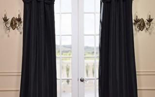 These silk drapes look sharp and will coordinate with your black lab.