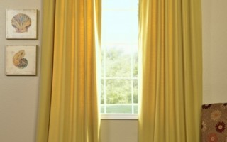 Yellow drapes warm up your living room.